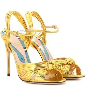 Gucci allie gold leather heels, 37, less on dp